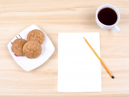Blank notes on a desk with cup of coffee Stock Photo - 16138568