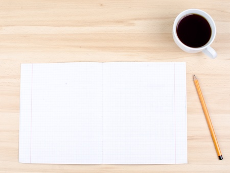 Blank notes on a desk with cup of coffee Stock Photo - 16138597