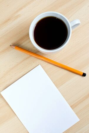 Blank notes on a desk with cup of coffee Stock Photo - 16138575