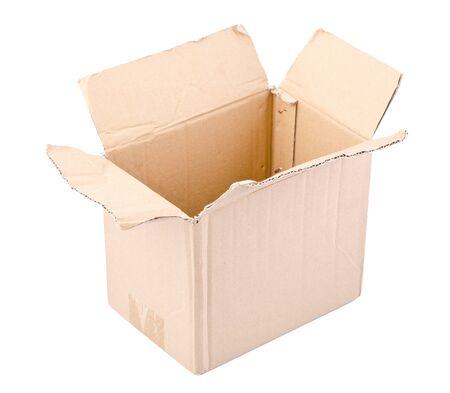 size distribution: a open carton box on white