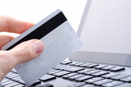 online banking on computer Stock Photo