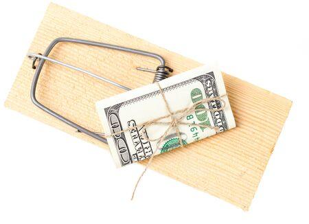 money on mousetrap on white Stock Photo - 17506437
