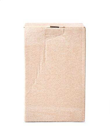 size distribution: a closed carton box on white