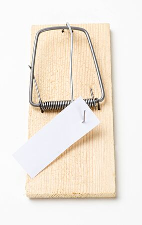 mousetrap: mousetrap with message on white
