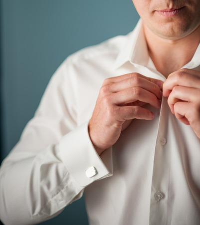 to button up: young man button up shirt Stock Photo