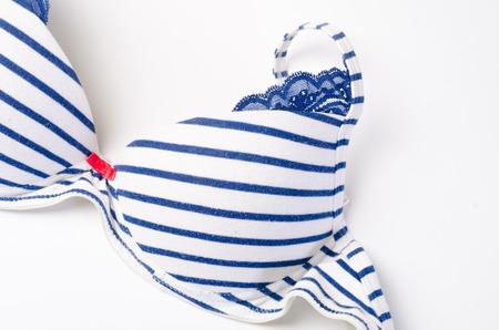 a blue bra on white