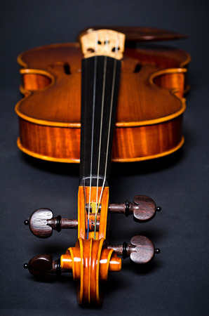 fiddlestick: view of old wooden violin on black background, focus on violin head
