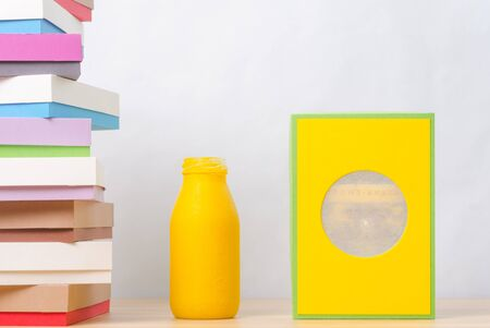 colored bottle: brightly colored boxes for gifts and bottle