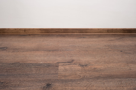 underlay: Empty white wall and wooden oak floor