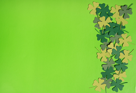 saint paddy's: St Patricks Day,  border or background of shamrock leaves over green paper