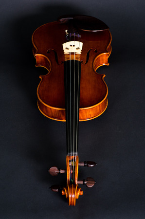 fiddlestick: view of old wooden violin on black background Stock Photo