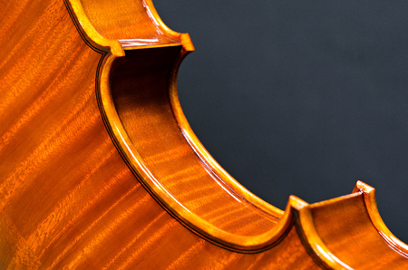 virtuoso: wooden violin part on black background, macro