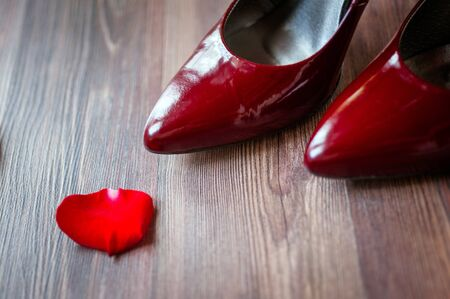 fashionable female: fashionable female red shoes on wooden floor