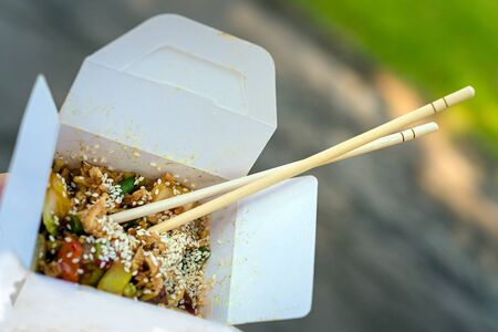 favorite soup: A Thai food in go-away box , outdoor