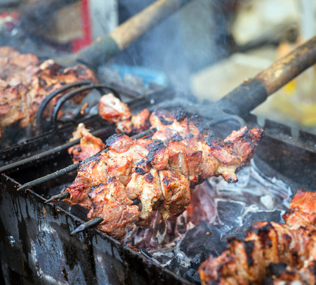 kebob: a meat on the grill closeup, outdoor