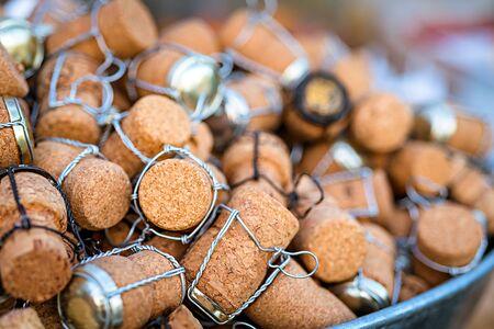 champagne pop: a group of wine cork, closeup shot