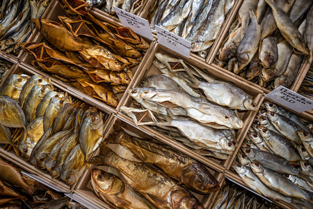 Group of dried fish at market. Seafood
