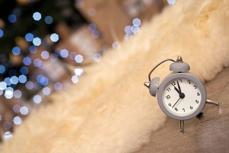 New year christmas clock  on abstract background