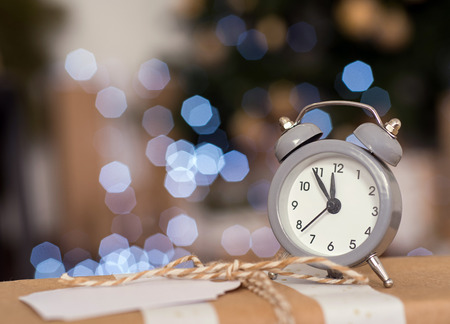 12 month old: New year christmas clock  on abstract background