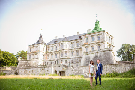 wedding couple in castle Stock Photo