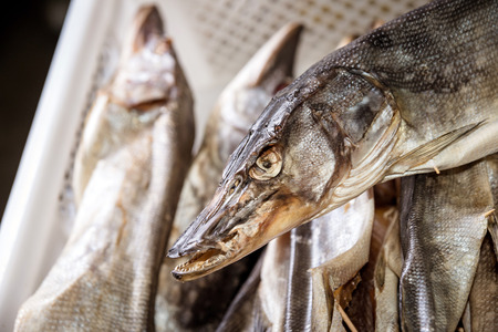 stockfish: dried fish at market