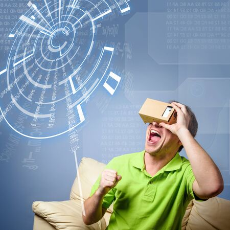 visualizing: Concept of virtual reality glasses Stock Photo