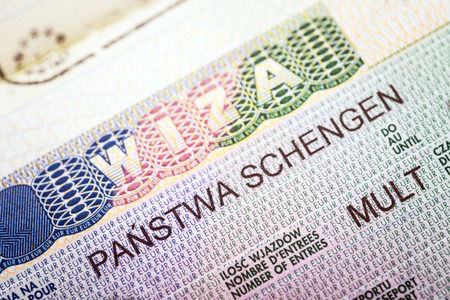 fragment of European Multi Schengen visa Stock Photo