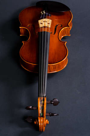 cellos: view of old wooden violin on black background Stock Photo