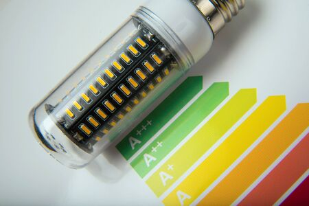 Energy efficiency concept with energy rating chart and LED lamp on white background Stock Photo