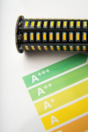 rating: Energy efficiency concept with energy rating chart and LED lamp on white background Stock Photo
