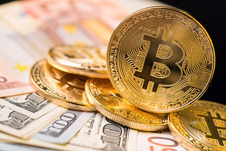 Golden Bitcoin Coin. Bitcoin cryptocurrency. Stock Photo
