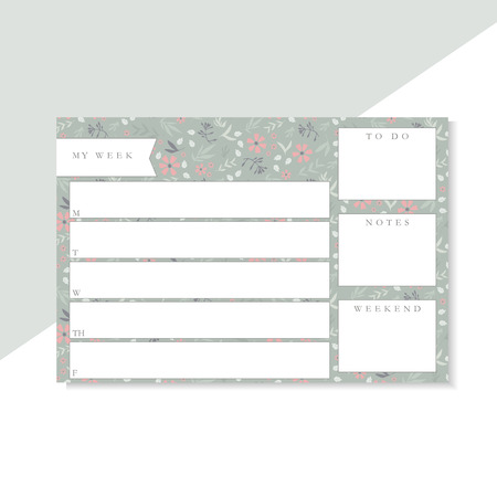 Weekly planner with green and pink flowers, stationery organizer for daily plans, floral vector weekly planner template