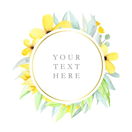 Round floral frame with watercolor flowers and leaves, yellow watercolor flowers, logos, illustration hand drawn Stock Illustration - 98683343
