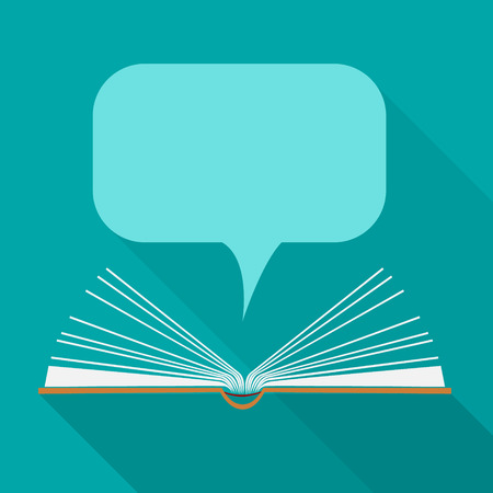 note book: Vector libro aperto carta con le nuvole discorso in stile design piatto