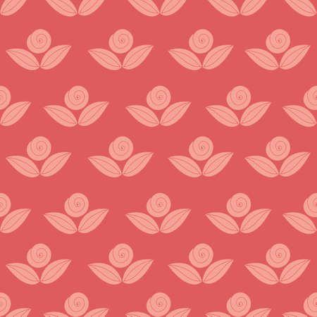 flower rose: vector seamless simple pattern with flower, rose, stems