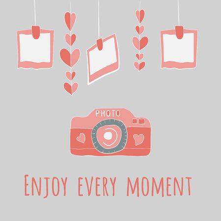 vector camera girlnda of hearts and photos.enjoy every moment lettering. Vector