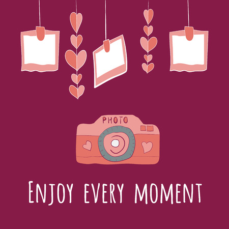 vector camera girlnda of hearts and photos.enjoy every moment lettering. Vector