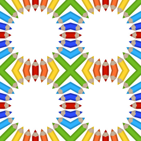 seamless pattern of colored pencils Vector