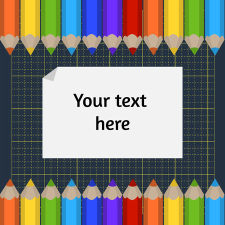 background of the cutting mat and border of colored pencils. Place for your text. Vector