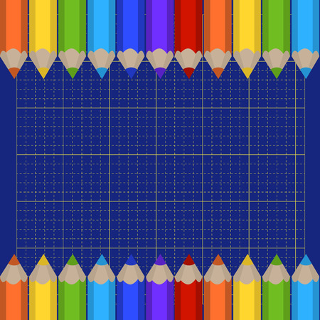 Vector background of the cutting mat and border of colored pencils. Place for your text. Vector