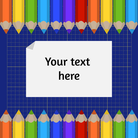 place mat: Vector background of the cutting mat and border of colored pencils. Place for your text.