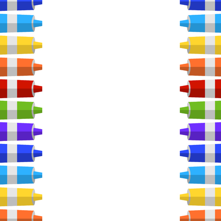 tempera: Vector background and border from tubes of paint. Place for your text.