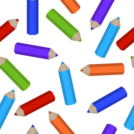 Vector seamless pattern of colored pencils scattered