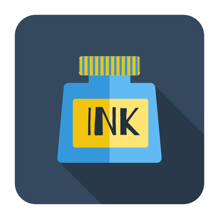 stylo: Vector icons bottle of ink, a long shadow, flat design