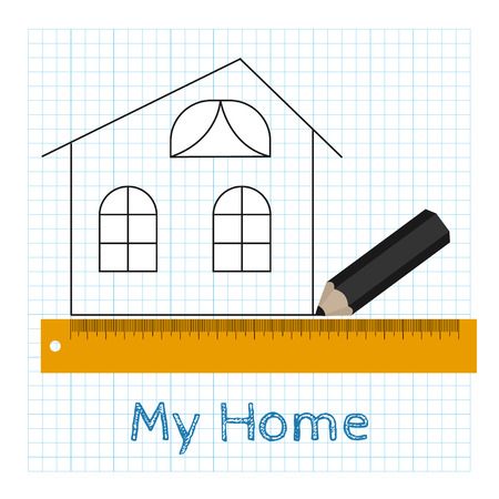 Vector technical drawing house with pencil and ruler Vector