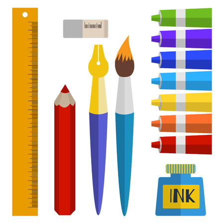 vector set of tools and materials for drawing. paints in tubes, brush, pen, ink, pencil