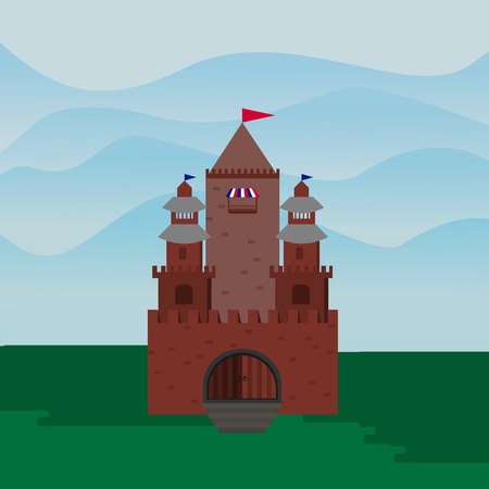 fortified: vector flat Castle, a fortress against the backdrop of the hills