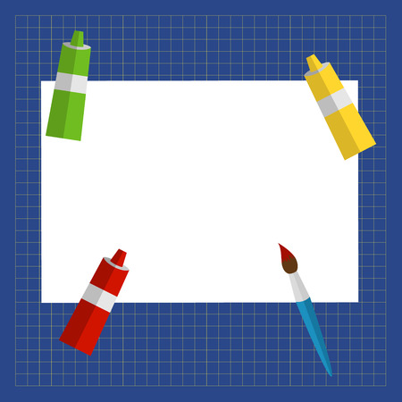 tempera: vector illustration mat paper cutting, paper, paint in tubes and brush Illustration