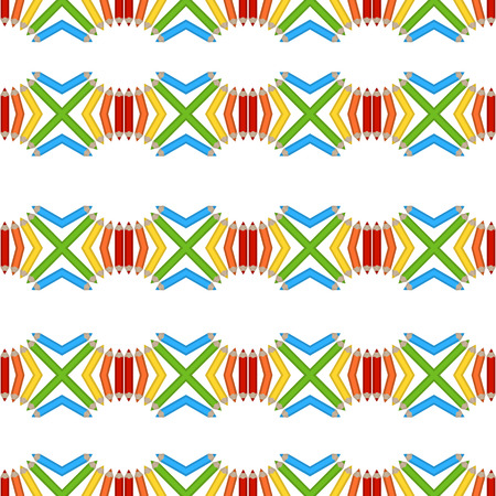 Vector seamless pattern of colored pencils Vector