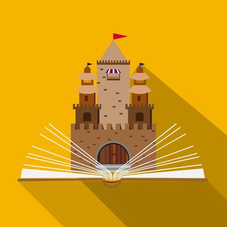 castello fiabesco: illustrazione vettoriale di un castello da favola di un libro aperto nel design piatto